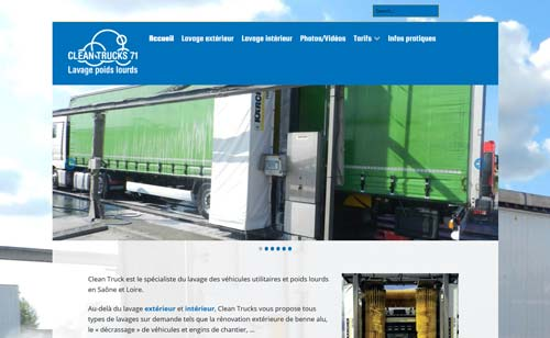 Page d'accueil du site Internet Clean Trucks