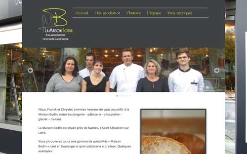 Page d'accueil du site Internet de la Maison Bodin à Saint Sébastien sur Loire